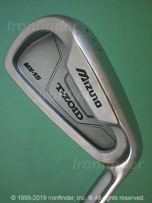 Back side of Mizuno T-Zoid MX-15 Irons head - the primary means to identify a club