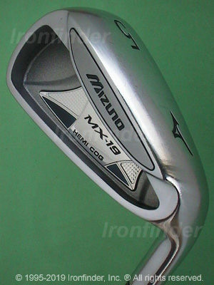 Back side of Mizuno MX-19 Irons head - the primary means to identify a club