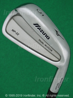 Back side of Mizuno MP-52 Irons head - the primary means to identify a club