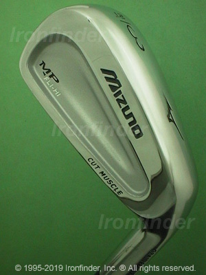 Back side of Mizuno MP FLI - HI Irons head - the primary means to identify a club