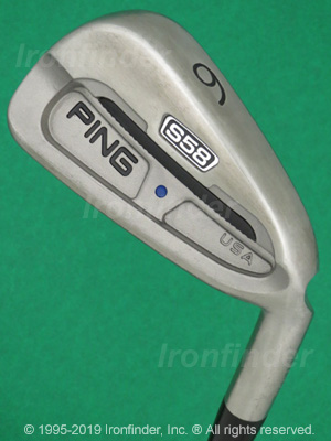 Back side of Ping S58 Irons head - the primary means to identify a club