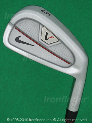 Back side of Nike VR Forged (Victory Red Split Cavity) Irons head - the primary means to identify a club