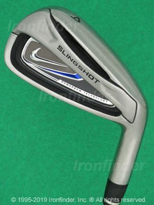 Back side of Nike Slingshot Powerbow Technology Irons head - the primary means to identify a club