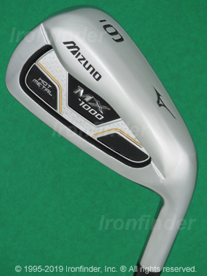 Back side of Mizuno MX-1000 HOT METAL Irons head - the primary means to identify a club