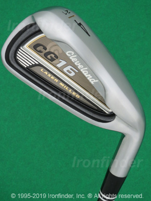 Back side of Cleveland CG16 Laser Milled (satin chrome) Irons head - the primary means to identify a club