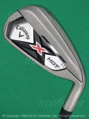 Back side of Callaway X HOT N14 Irons head - the primary means to identify a club