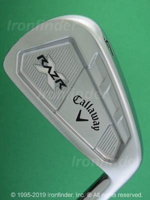 Back side of Callaway RAZR X Forged Irons head - the primary means to identify a club