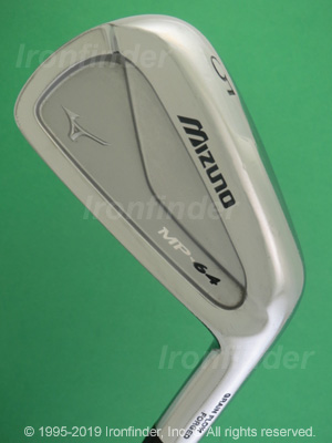 Back side of Mizuno MP-64 Irons head - the primary means to identify a club