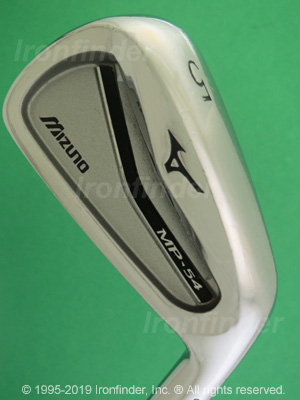 Back side of Mizuno MP-54 Irons head - the primary means to identify a club