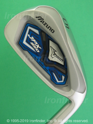 Back side of Mizuno JPX 850 Irons head - the primary means to identify a club