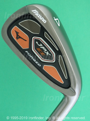 Back side of Mizuno JPX EZ Forged orange Irons head - the 