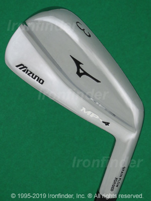 Back side of Mizuno MP-4 Irons head - the primary means to identify a club