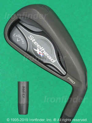 Back side of Callaway Steelhead XR PRO Irons head - the primary means to identify a club