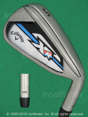 Back side of Callaway XR OS Irons head - the primary means to identify a club