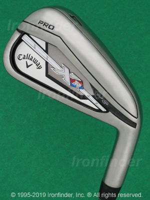 Back side of Callaway XR PRO Cup 360 Irons head - the primary means to identify a club