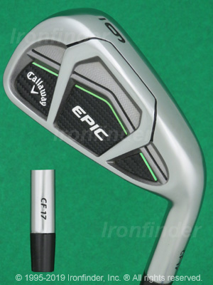 Back side of Callaway EPIC CF 17 Irons head - the 