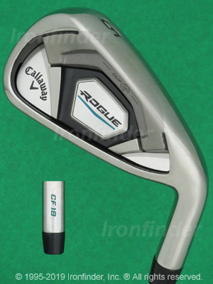 Back side of Callaway ROGUE CF18 Cup 360 Irons head - the primary means to identify a club