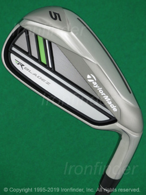 Back side of TaylorMade RBLADEZ (2.0 green) Irons head - the primary means to identify a club