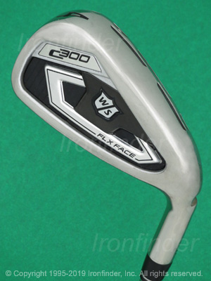 Back side of Wilson Staff C300 FLX FACE Irons head - the primary means to identify a club