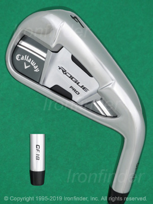 Back side of Callaway ROGUE PRO CF18 Cup 360 Irons head - the 