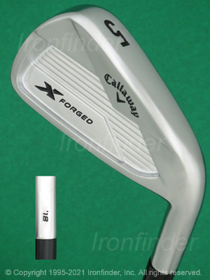 Back side of Callaway X-Forged 18 Irons head - the primary means to identify a club
