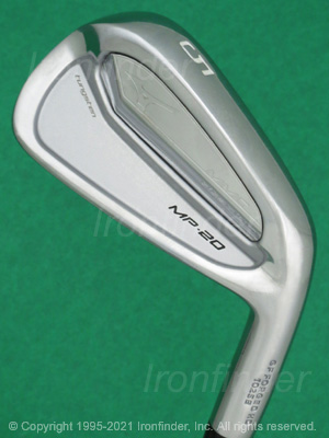 Back side of Mizuno MP-20 MMC Irons head - the primary means to identify a club
