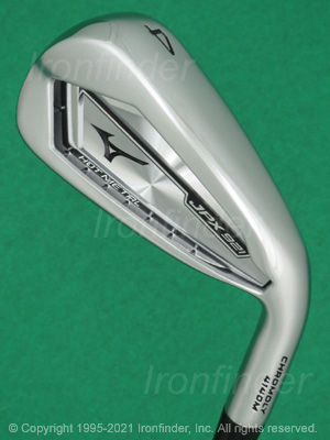 Back side of Mizuno JPX 921 HOT METAL Irons head - the primary means to identify a club