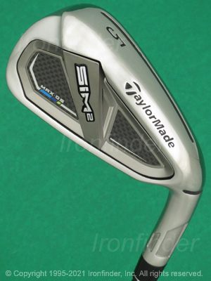 Back side of TaylorMade SIM2 MAX OS Irons head - the primary means to identify a club