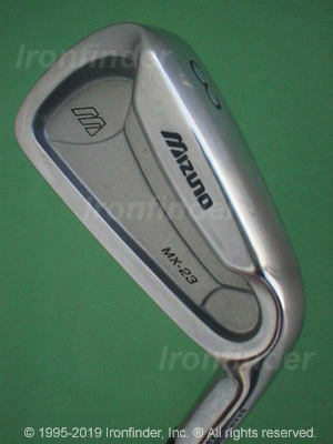 Back side of Mizuno MX-23 Irons head - the primary means to identify a club
