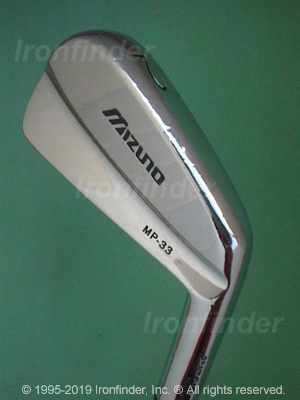 Back side of Mizuno MP-33 Irons head - the primary means to identify a club