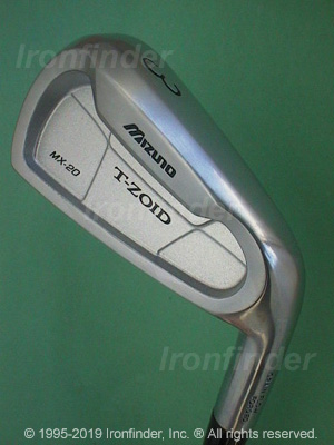 Back side of Mizuno T-Zoid MX-20 Irons head - the primary means to identify a club